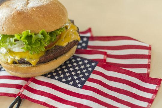 Cheeseburger American Flag