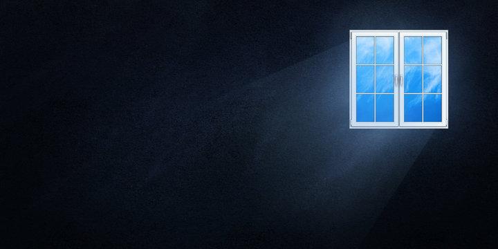 The light flux through the plastic window on a dark background