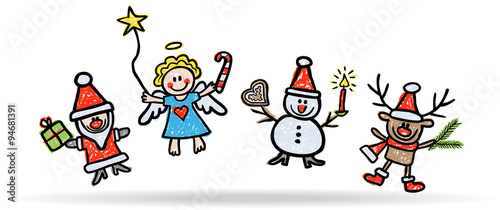 weihnachtsfiguren beim freudensprung rentier engel schneemann weinachtsmann. Black Bedroom Furniture Sets. Home Design Ideas