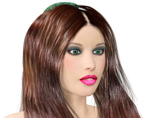 3d render face of beautiful girl with Soft skin. Bright makeup. Isolate. Close up view.
