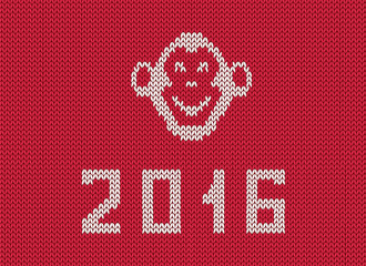 Scandinavian style new 2016 year greeting  knitted pattern with monkey