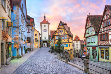 Colorful half-timbered houses in Rothenburg ob der Tauber, Germa Fototapete