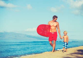 Wall Mural - Father and Son Surfing