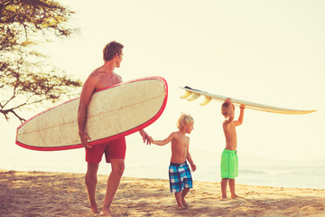 Wall Mural - Father and Sons Going Surfing