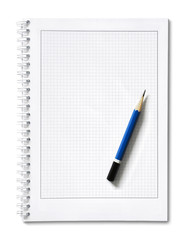 notepad with pencil isolated on white background