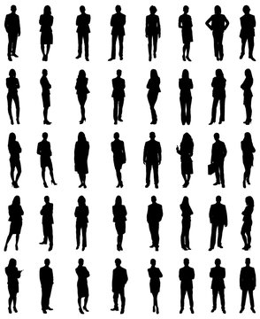 Set Of Businesspeople Silhouettes