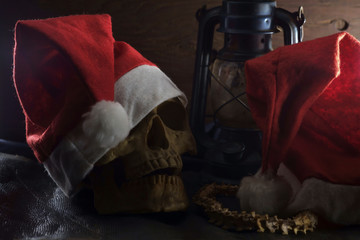 Santa Claus hat with skull/Santa Claus hat with skull.