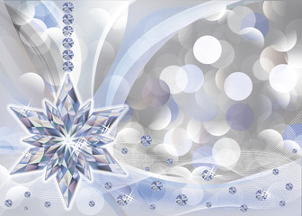 Elegant wallpaper with diamond snowflake, vector illustration