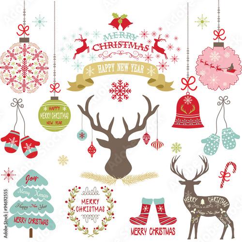 Merry ChristmasChristmas FlowersDeerRustic Tree Christmas Decoration