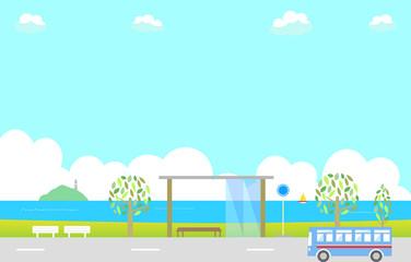 バス停と海