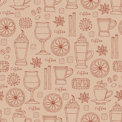 Pattern with hand drawn coffee on beige color