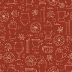 Pattern with hand drawn coffee on brown color