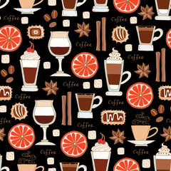 Pattern with hand drawn coffee on black color