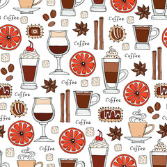 Vector pattern on the theme of coffee