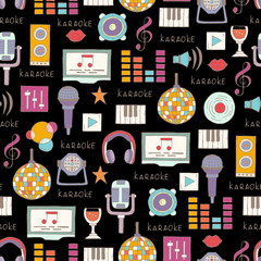 Vector pattern on the theme of karaoke on black