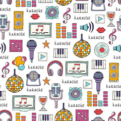Vector seamless pattern on the theme of karaoke