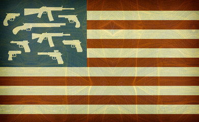 grunge and aged american flag with guns