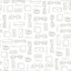 Pattern with hand drawn glasses on white color