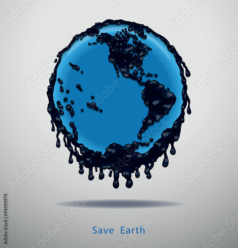 Vector Dirty Earth, Western Hemisphere. Image Of The Earth Blue Color With  Continents Of