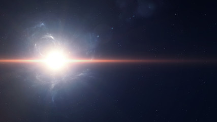 Sunflafe beautiful background in deep space. Elements of this image furnished by NASA