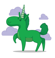Vector Cute unicorn, green. Cartoon image of a cute green unicorn on a light background with lilac clouds.