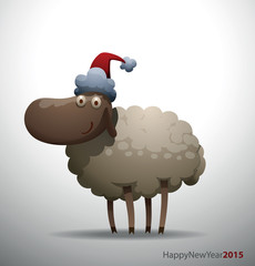 Vector cartoon image of gray sheep in the red Santa's hat on a light gray background. In the theme of Christmas and New Year.