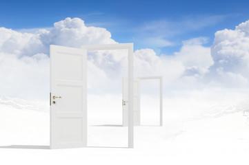 Opened doors in field