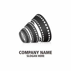 Speak Movie 8 film strip logo icon abstract