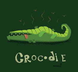 Vector Funny card with a crocodile. Cartoon image of a funny dead green crocodile lying belly up on a dark green background.