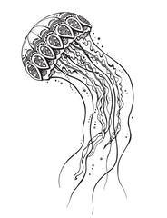 Hand drawn vector jellyfish in black and white doodle style.