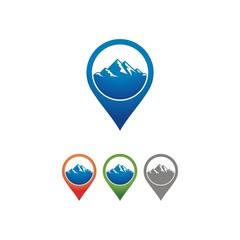 Navigation Mountain Location Logo Design. Travel Pin Point Logo Design Template