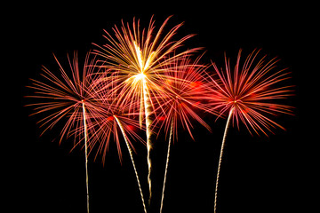 Colorful fireworks of various colors over night sky  - Vibrant c