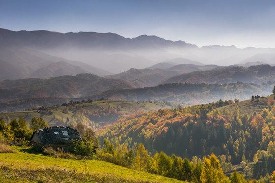 Idyllic autumn mountain landscape in Bran, Romania