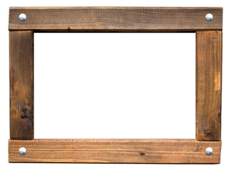 einfacher Holzrahmen angeschlagen mit Schrauben