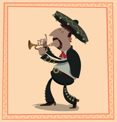 Vector Fat Mariachi with a cornet. Cartoon image of fat mariachi in traditional Mexican black-and-white suit, red tie and black sombrero with a cornet in his hands on a light pink background.