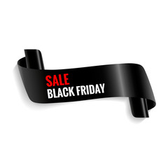 Black friday sale. Realistic curved paper banner, ribbon. Vector illustration EPS on a white background with shadow in red inscription