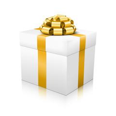 Weißes Vektor Geschenkpaket mit goldener Schleife und Band - Isoliert auf weißem Hintergrund mit Glanzeffekt auf dem Boden. Geschenk, eingepackt mit vergoldeter Geschenkschleife.