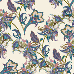 Vintage floral and paisley seamless pattern, oriental background