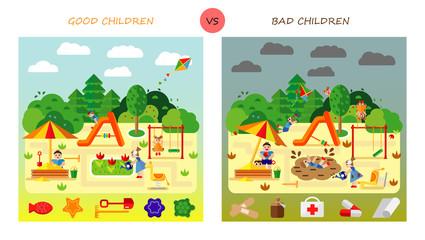 Set. Kids playing on playground. Swinging and sliding children. Flat style vector cartoon illustration.