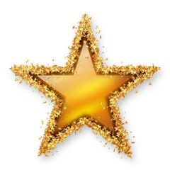 Stern Symbol mit goldenem Rahmen aus Sternchen und gelbem Topas-Stein und sanftem Schatten - Topas - Edelstein, Schmuck, Weihnachtsstern, Jubiläum, Dekoration