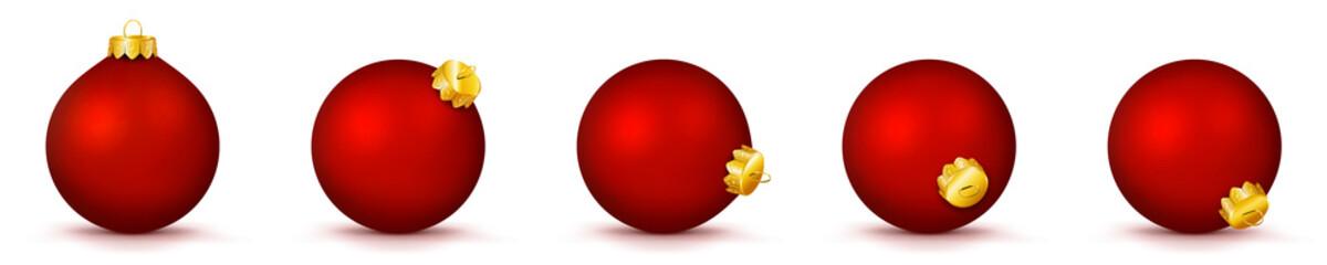 Vektor Weihnachtskugeln in rot - verschiedenen Perspektiven - Isoliert auf weißem Hintergrund - Jede Kugel ist gruppiert und mit weißer Hintergrund-Ebene - Set, Sammlung, Kollektion, Gruppierung