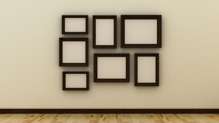 Empty picture frames on the wall