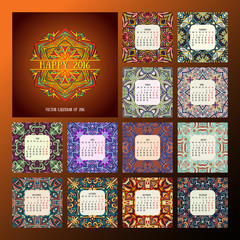 square calendar 2016. Oriental colorful patterns, vector illustration.