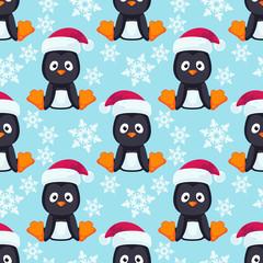 Christmas Cartoon Penguin Seamless Vector Pattern