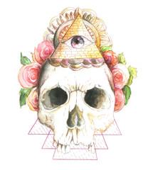 skull, flowers, watercolor