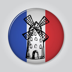 Badge with mill in sketch style.