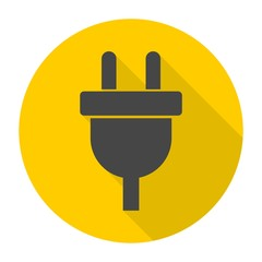 Electric plug sign icon, Power energy symbol with long shadow