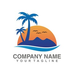 Beach Sunset Tree Logo Design. Summer icons on holiday, summer, beach and sea, vector graphic art shape, retro vintage design logo, illustration isolated on white background.