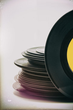 Stack of  old vinyl records, vintage processing, copy space