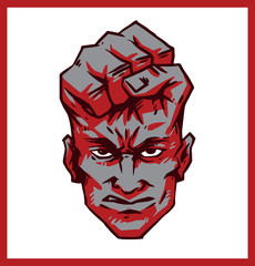 Vector Rage Face, red. Abstract image of rage face as symbiosis of the human face and fist of red color on a white background with a red frame.